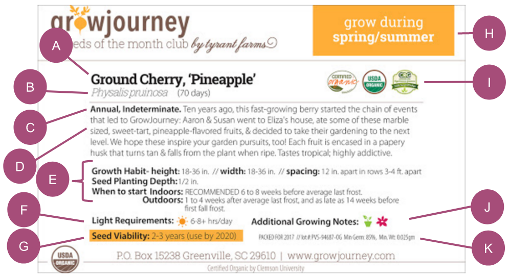 A packet of 'Pineapple' Ground Cherries from GrowJourney, one of our favorites.