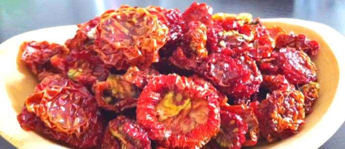 Soft and chewy sun-dried tomatoes. You'll be amazed at how much a tomato shrinks when dried, making sun-dried tomatoes perhaps the easiest and best way to store and use lots of tomatoes.